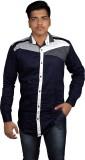 Zedx Men's Solid Formal Blue Shirt