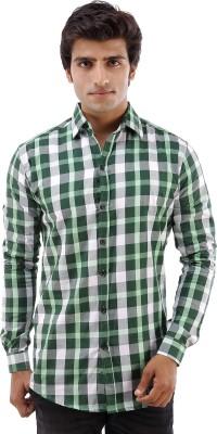 Deeksha Men's Checkered Casual Green Shirt
