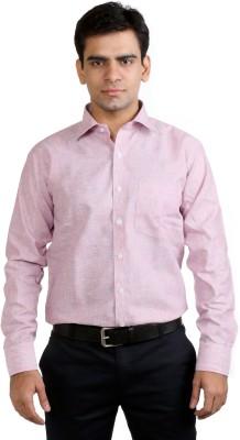 Basil Men's Solid Formal Linen Pink Shirt