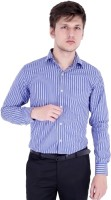 Vaitolua Formal Shirts (Men's) - Vaitolua Men's Striped Formal Dark Blue Shirt