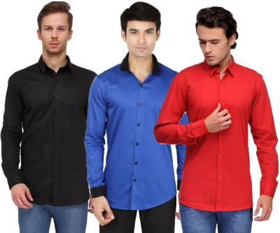 Feed Up Men's Solid Casual Black, Blue, Red Shirt