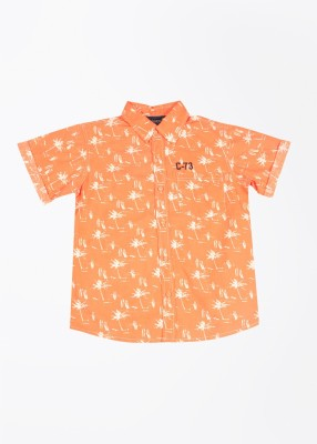 Cherokee Kids Boy's Printed Casual White, Orange Shirt