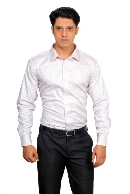 Green Bows Men's Self Design Formal White Shirt