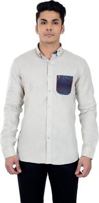 Matchles Men,s Printed Casual Linen Blue Shirt