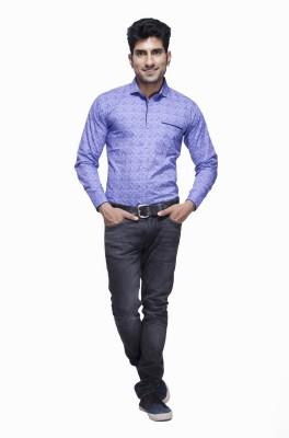 Jads Men's Printed Casual Blue Shirt