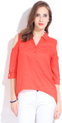 Remanika Women,s Solid Casual Orange Shirt