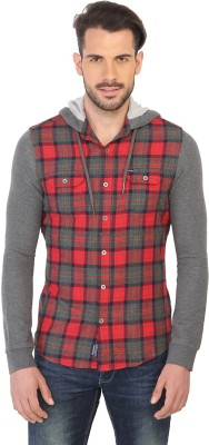 Being Human Men's Checkered Casual Red, Grey Shirt