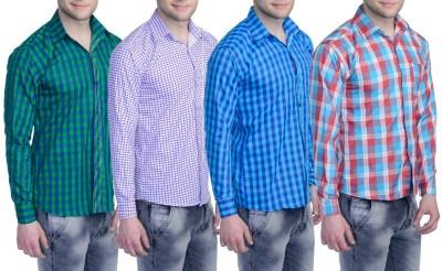 Aligatorr Men's Checkered Formal Green, White, Red, Blue Shirt