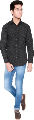 Shreebalajitraders Men's Polka Print Casual Black Shirt