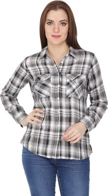 Kaaya Women's Checkered Casual Black, White Shirt