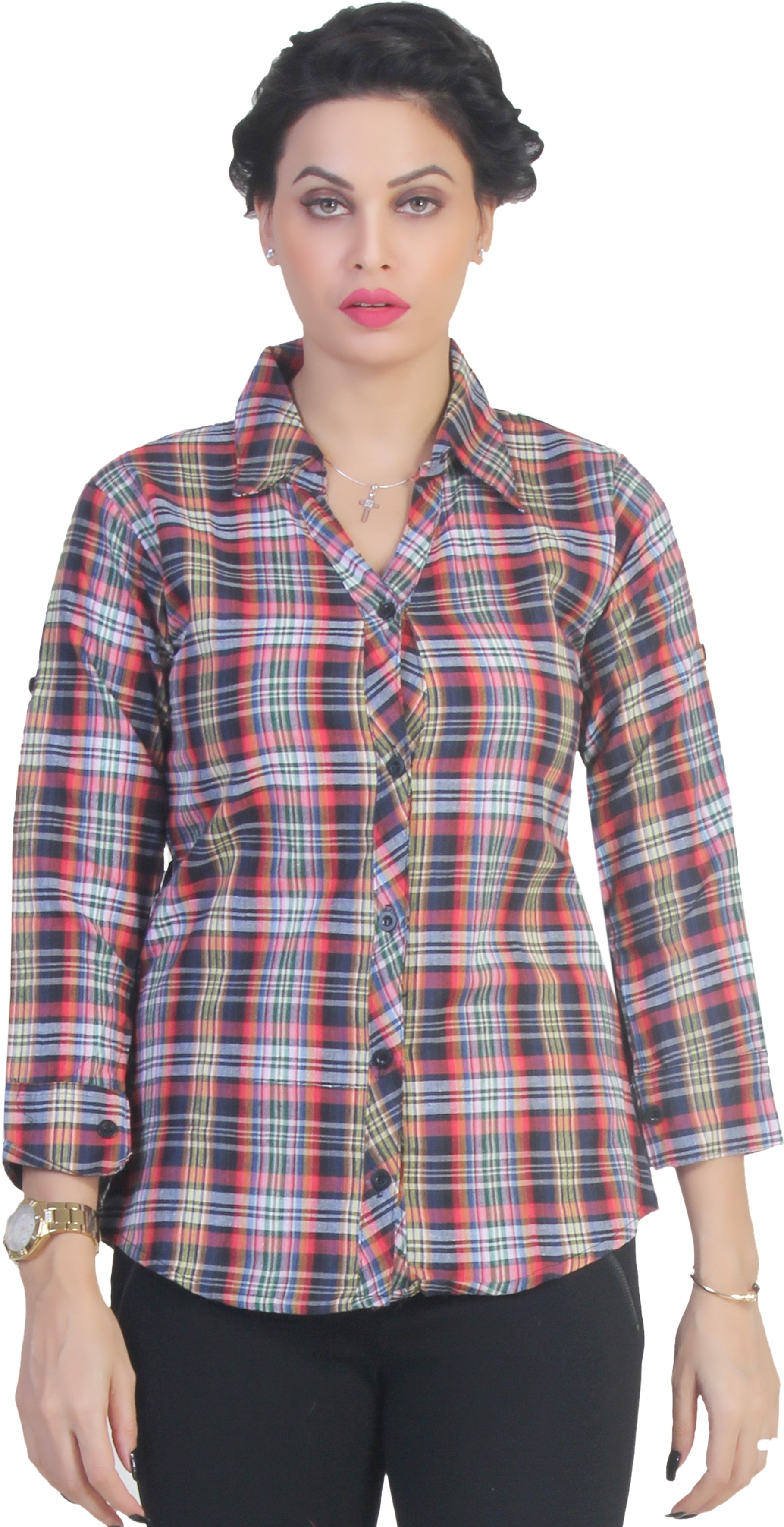 Ten on Ten Womens Checkered Casual Multicolor Shirt