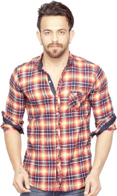 Bombay Casual Jeans Men's Checkered Casual Red Shirt