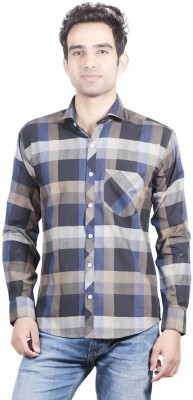 Valbone Men's Checkered Casual Blue Shirt
