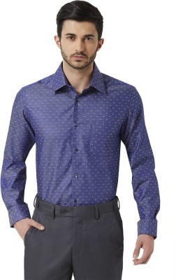 Peter England Men's Printed Casual Blue Shirt