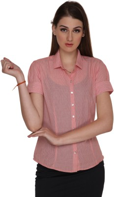 Miss Rich Women's Striped Casual Red Shirt