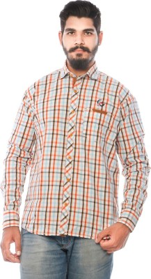 LWW Men's Checkered Casual Orange Shirt