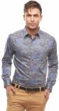Jogur Men's Printed Casual Blue Shirt