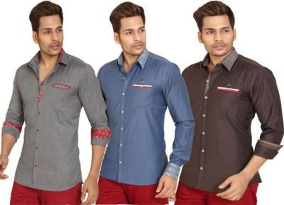 Trustedsnap Men's Solid Casual Multicolor Shirt