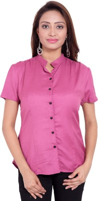 Fbbic Women's Solid Casual Pink Shirt