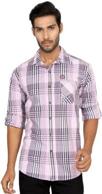 Macoro Men,s Checkered Casual Pink Shirt