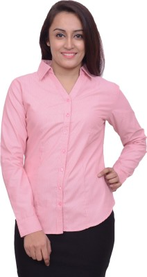 Snoby Women's Solid Formal Pink Shirt