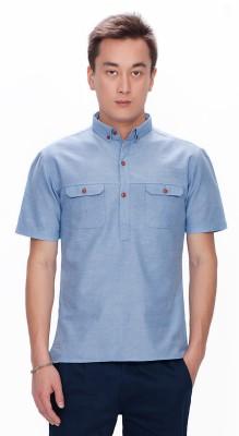 Srota Men's Solid Casual Blue Shirt