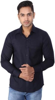 Regza Men's Solid Formal Dark Blue Shirt