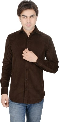 ALLANZO Men's Solid Casual Brown Shirt