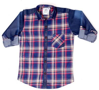Mash Up Boy's Checkered Casual Red Shirt