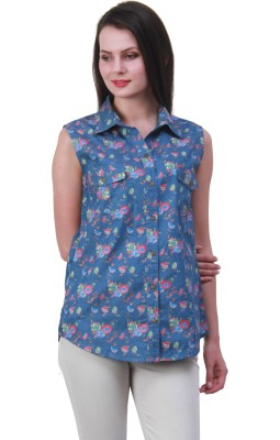 Meee Women,s Printed Casual Blue Shirt