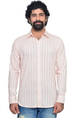 Snoby Men's Striped Casual Pink Shirt