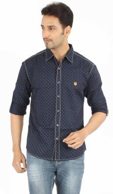 Spykar Men's Printed Casual Dark Blue Shirt