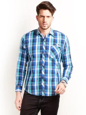Change 360 Men's Checkered Casual Blue Shirt