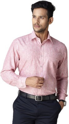 Warewell Men's Striped Formal Red Shirt