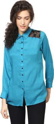 Love From India Women's Solid Casual Blue Shirt