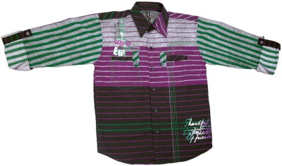BAD BOY Boy's Striped Casual Purple Shirt