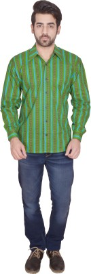 Shilpi Men's Printed Casual Green Shirt