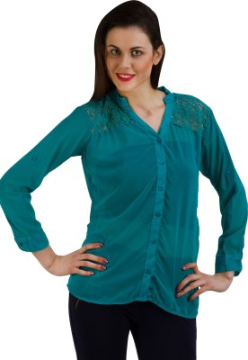 GUDS Women's Solid Casual Green Shirt