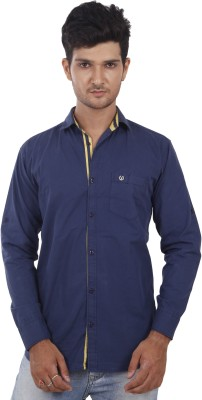 Private Image Men's Solid Casual, Party Linen Blue Shirt