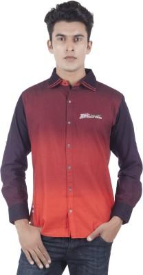 Eden Elliot Men's Printed Casual Linen Maroon, Brown Shirt