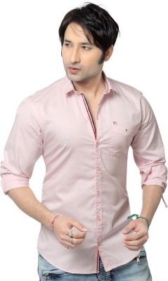 REDOX Men's Solid Casual Pink Shirt