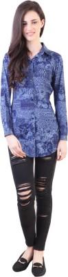 Vvine Women's Printed Party Blue Shirt