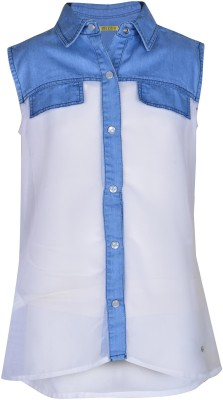 Gini & Jony Girl's Solid Casual White Shirt