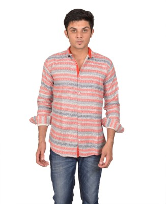 Suzee Men's Striped Casual Red, White Shirt