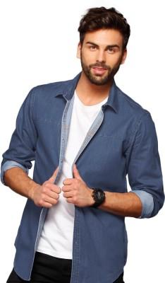 Bewakoof Men's Woven Casual Denim Blue Shirt