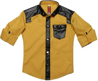 DL EMPORIUM Boy's Solid Casual Yellow Shirt