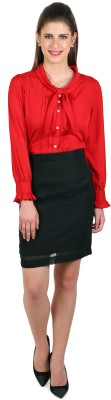 Eyelet Women's Solid Casual Red Shirt