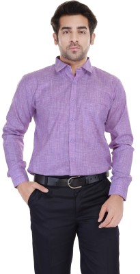 Blue Bird Men's Self Design Formal Linen Purple Shirt