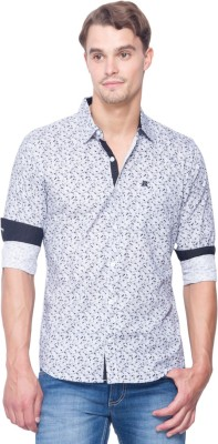 Shield & Sword Men's Printed Casual White, Blue Shirt