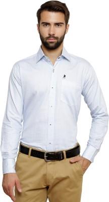Ebry Men's Paisley Formal White, Light Blue Shirt